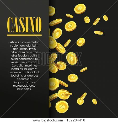 Casino Poster Background or Flyer with Flying Golden Money Coins. Vector Template. Casino Banner. Casino Games Gambling Template background.