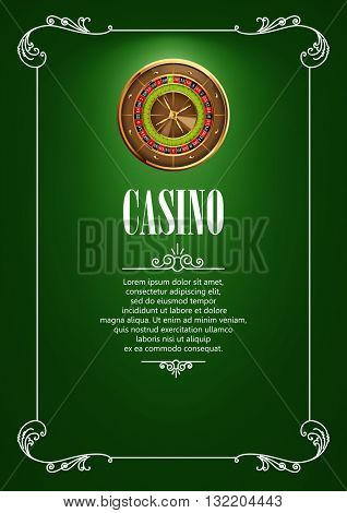 Casino Logo Poster Background or Flyer with Roulette Wheel. Banner with Casino Logo Badges. Game Cards on Green Canvas. Playing Casino Games. Casino Banner. Casino Games Gambling Template background.