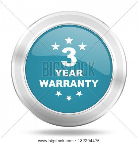 warranty guarantee 3 year icon, blue round metallic glossy button, web and mobile app design illustration