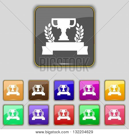 Trophy Cup Icon Sign. Set With Eleven Colored Buttons For Your Site. Vector