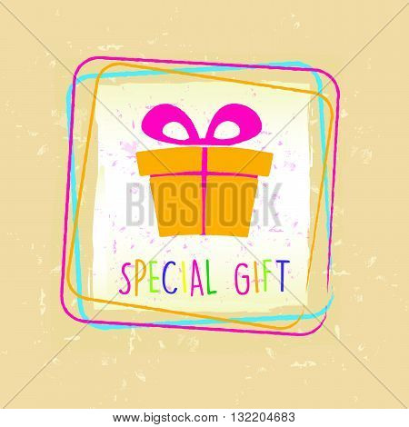 special gift with present box sign in frame over beige old paper background, holiday concept, vector