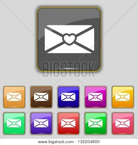 Love Letter Icon Sign. Set With Eleven Colored Buttons For Your Site. Vector
