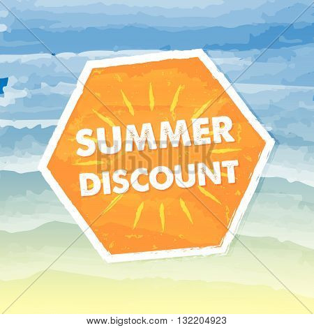 summer discount banner - text in orange hexagon label over yellow blue drawn background, business seasonal shopping concept, vector