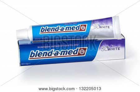 CHISINAU MOLDOVA - MARCH 25 2016. Blend-A-Med toothpaste 3D White Fresh Cool Water made by Procter & Gamble. Blend-A-Med 3D White provides tri dimensional whiteness and longer lasting freshness.