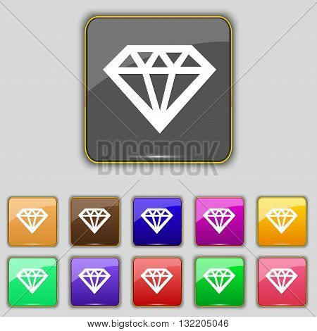 Diamond Icon Sign. Set With Eleven Colored Buttons For Your Site. Vector