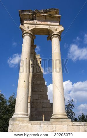 Paphos Cyprus - March 20 2015: The Sanctuary of Apollo Hylates Cyprus. The sanctuary is located about 25 kilometres west of the ancient town of Kourion along the road which leads to Pafos.