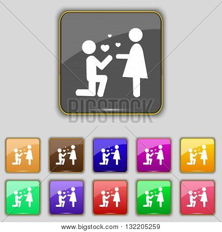 An Offer Of Marriage Icon Sign. Set With Eleven Colored Buttons For Your Site. Vector