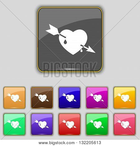 Arrow Heart Icon Sign. Set With Eleven Colored Buttons For Your Site. Vector
