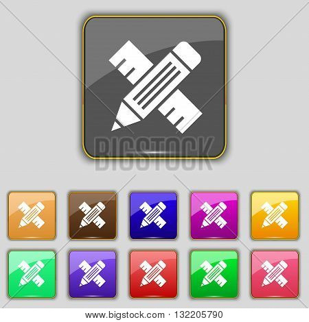Pencil With Ruler Icon Sign. Set With Eleven Colored Buttons For Your Site. Vector