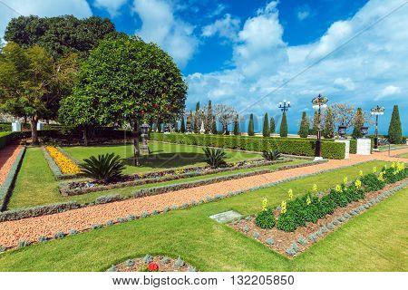 Flowers of Bahai Garden in Haifa Israel