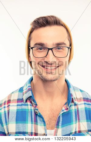 Handsome Cheerful Man With Glasses And Hat