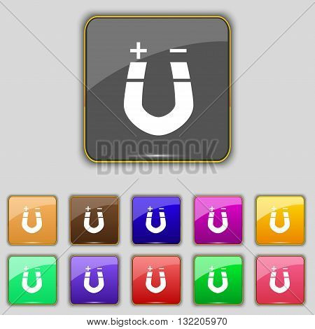 Horseshoe Magnet, Magnetism, Magnetize, Attraction Icon Sign. Set With Eleven Colored Buttons For Yo