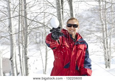 Throwing a Snowball - Winter Fun