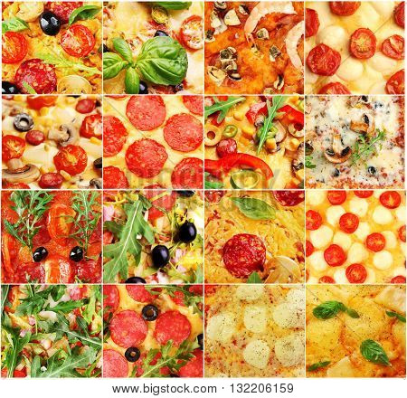 Different pizza's closeup in collage