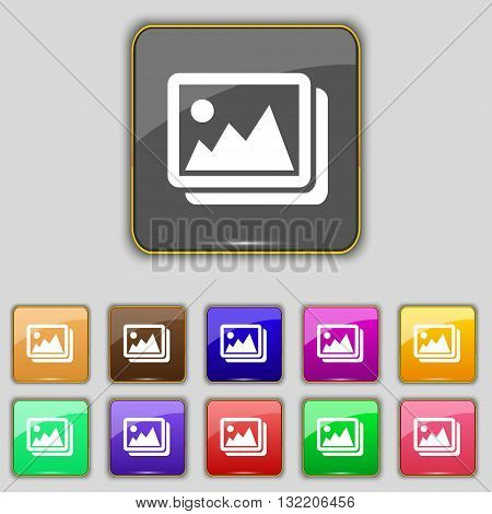 Images, Jpeg, Photograph Icon Sign. Set With Eleven Colored Buttons For Your Site. Vector