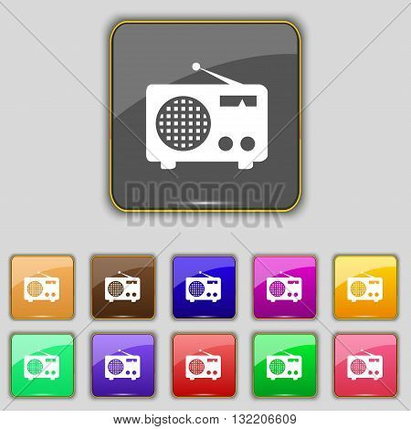 Retro Radio Icon Sign. Set With Eleven Colored Buttons For Your Site. Vector