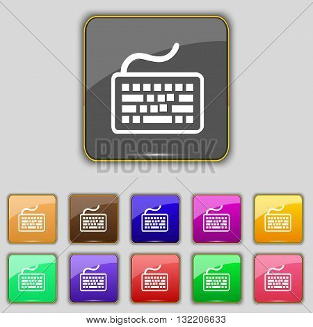 Keyboard Icon Sign. Set With Eleven Colored Buttons For Your Site. Vector