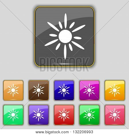 Sun Icon Sign. Set With Eleven Colored Buttons For Your Site. Vector