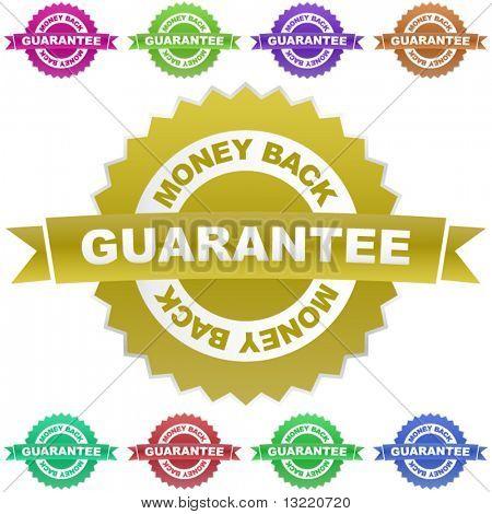 Guarantee money back. Vector set.