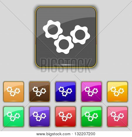 Gears Icon Sign. Set With Eleven Colored Buttons For Your Site. Vector