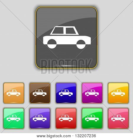 Car Icon Sign. Set With Eleven Colored Buttons For Your Site. Vector