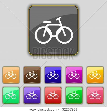 Bicycle, Bike Icon Sign. Set With Eleven Colored Buttons For Your Site. Vector