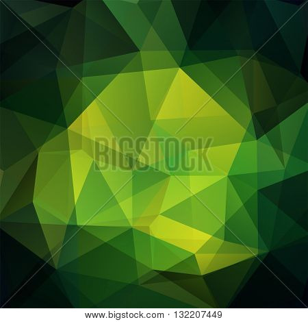 Ackground Made Of Triangles. Square Composition With Geometric Shapes. Eps 10. Green, Black Colors.