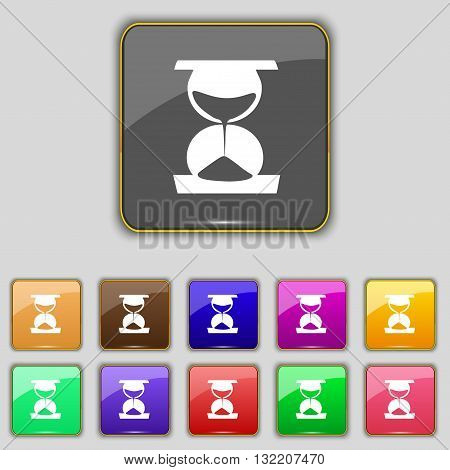 Hourglass Icon Sign. Set With Eleven Colored Buttons For Your Site. Vector