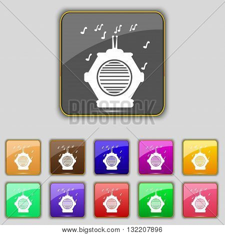 Old Analog Radio Icon Sign. Set With Eleven Colored Buttons For Your Site. Vector