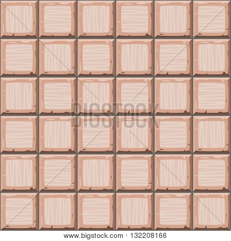 Cartoon Hand Drown Beige Seamless Old Tiles Texture. Vector Illustration