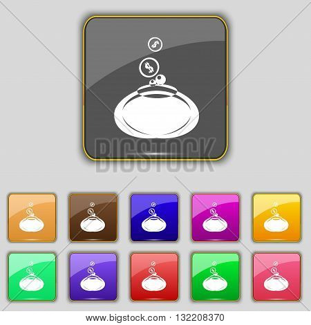 Retro Purse Icon Sign. Set With Eleven Colored Buttons For Your Site. Vector