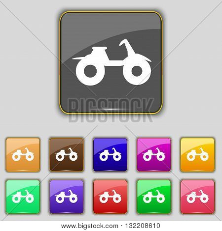 Atv Icon Sign. Set With Eleven Colored Buttons For Your Site. Vector