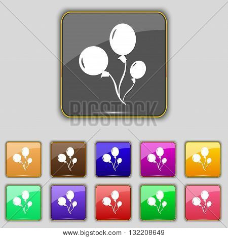 Balloons Icon Sign. Set With Eleven Colored Buttons For Your Site. Vector