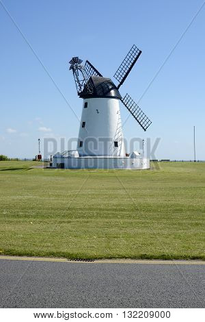 LYTHAM ST ANNES, UK - 14 MAY 2016: Lytham windmill, designed for grinding wheat and oats, sited at Lytham Green, Lytham St Annes, Lancashire, UK