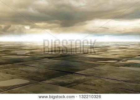 wet concrete floor and cloud on sky 3D Rendering
