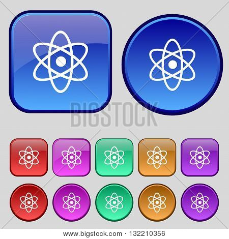 Atom, Physics Icon Sign. A Set Of Twelve Vintage Buttons For Your Design. Vector