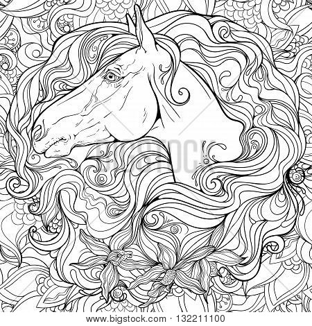 Portrait of a horse in flowers. Coloring page