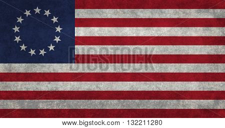 Former American flag commonly called The Betsy Ross flag with vintage retro style treatment
