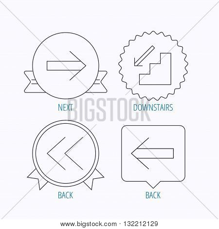 Arrows icons. Downstairs, next and back linear signs. Next, back arrows flat line icons. Award medal, star label and speech bubble designs. Vector