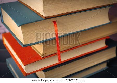 Pile of books, close-up