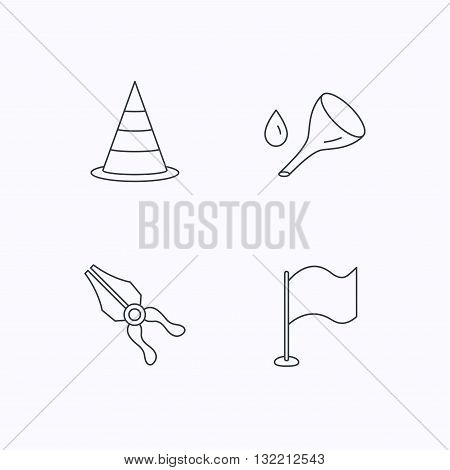Flag, traffic cone and oil change icons. Pliers linear sign. Flat linear icons on white background. Vector