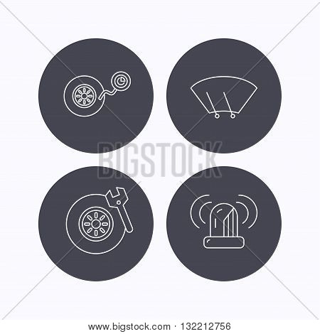 Wheel pressure, tire service and siren alarm icons. Car repair service station linear sign. Flat icons in circle buttons on white background. Vector