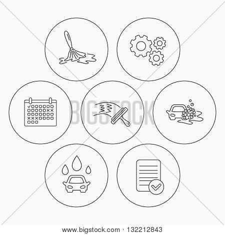Car wash icons. Automatic cleaning station linear signs. Washing windows, wet cleaning and foam bucket flat line icons. Check file, calendar and cogwheel icons. Vector
