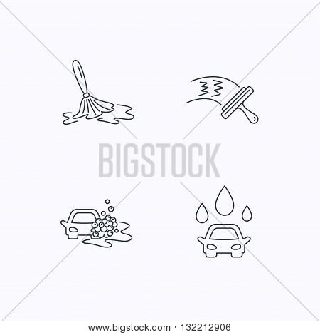 Car wash icons. Automatic cleaning station linear signs. Washing windows, wet cleaning and foam bucket flat line icons. Flat linear icons on white background. Vector