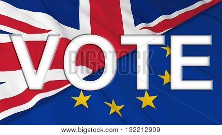 Brexit Vote - White Vote text cut out of UK and EU Flags - 3D Illustration