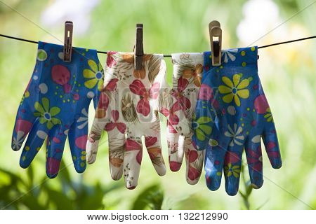 Gloves for working in the garden, vegetable garden in the dry