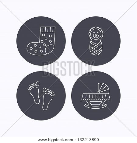 Footprint, cradle and newborn baby icons. Socks linear sign. Flat icons in circle buttons on white background. Vector