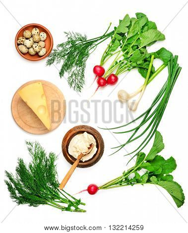Useful for health foods (vegetables, quail eggs, cream) isolated on white background. Top view.