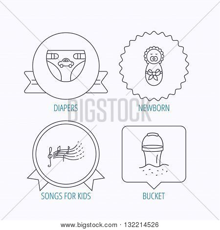 Diapers, newborn baby and songs for kids icons. Beach bucket linear sign. Award medal, star label and speech bubble designs. Vector