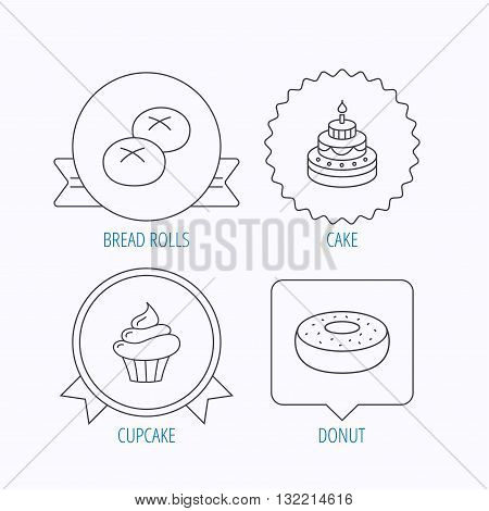 Cupcake, cake and bread rolls icons. Sweet donut linear sign. Award medal, star label and speech bubble designs. Vector